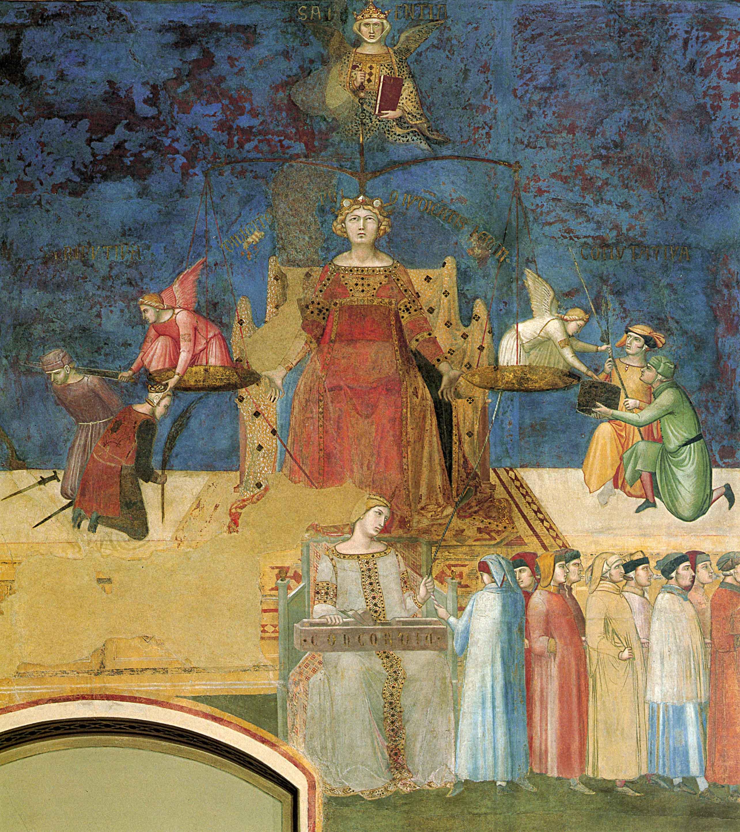 Ambrogio Lorenzetti- immagine della Giustizia nella Allegoria del Buon Governo. Sala della pace, Palazzo pubblico, Siena, 1338-39