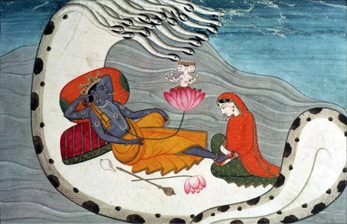 Viṣṇu che si riposa su Ananta-Shesha, divinità ofidica, insieme alla consorte Lakṣmī.