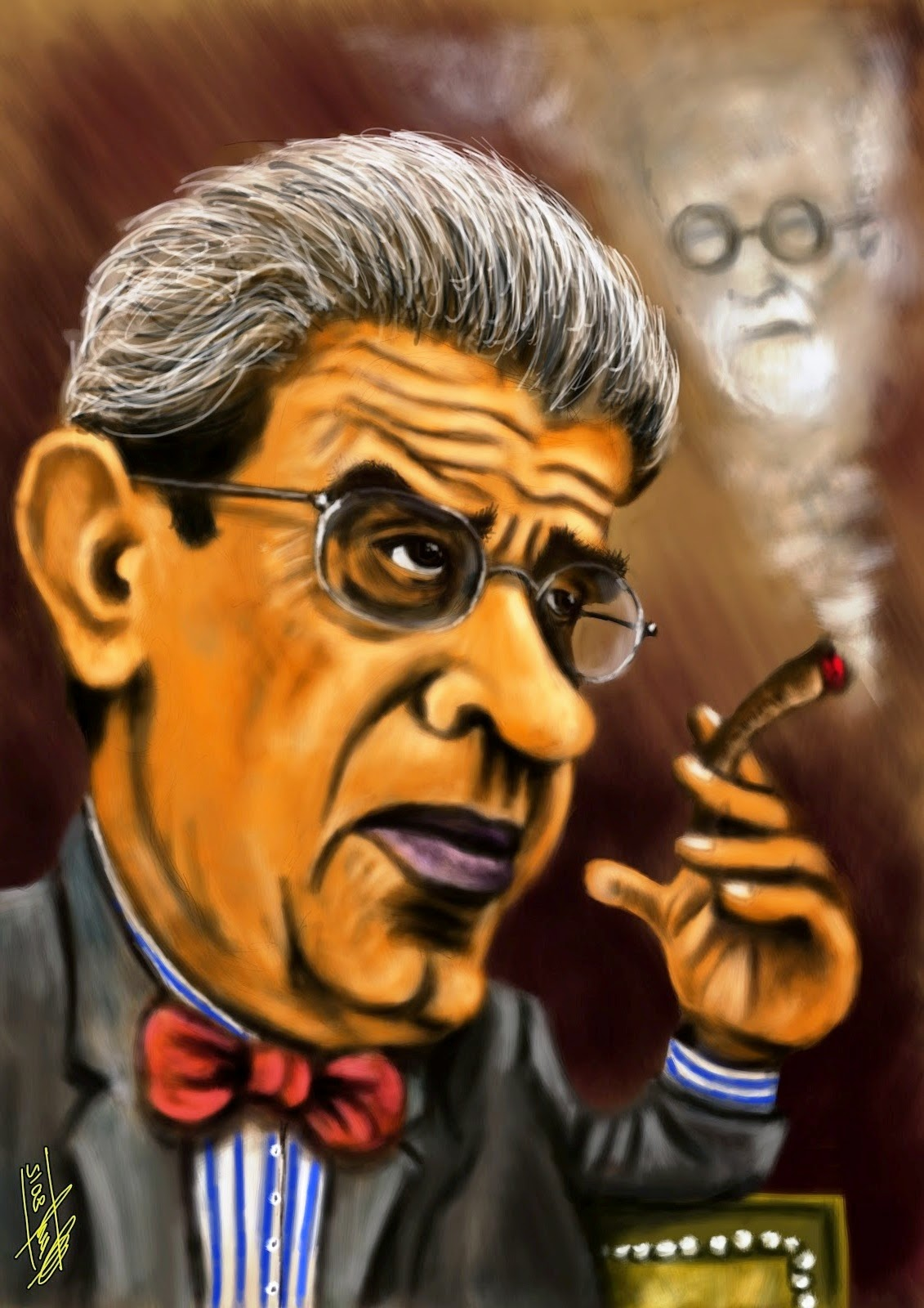 Jacques Lacan che fuma Freud (Gustavo López Cháves © Ñángara Marx)
