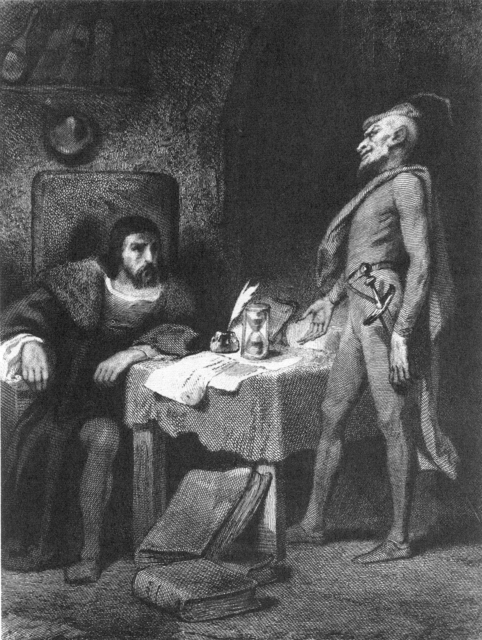 Faust e Mefistofele nell'incisione di Tony Johannot per il Faust di Johann Wolfgang von Goethe