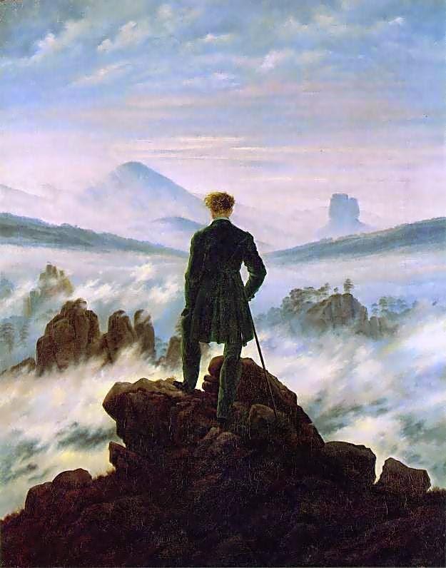 "Caspar David Friedrich, ""Il Viandante sul mare di nebbia"" (Der Wanderer über dem Nebelmeer), 1818"