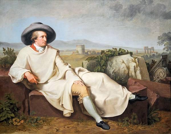 """Goethe nella campagna romana"", quadro di Johann Heinrich Wilhelm Tischbein (1786)"