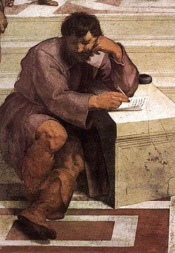 Eraclito ne La scuola di Atene di Raffaello Sanzio